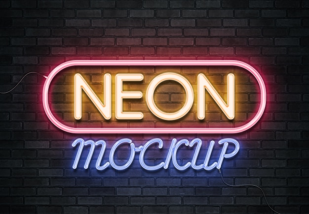 Neon sign text effect on brick wall Premium Psd