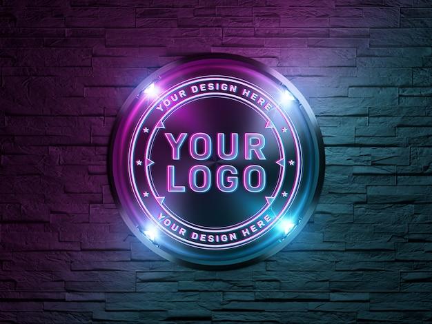 Логотип в неоновом стиле на кирпичной стене макет Premium Psd