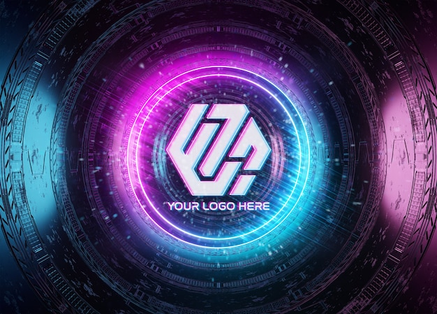 Neon style logo projection in tunnel mockup Premium Psd