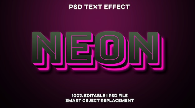 Шаблон стиля неонового текстового эффекта Premium Psd