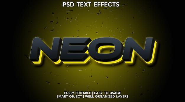 네온 텍스트 효과 템플릿 프리미엄 PSD 파일