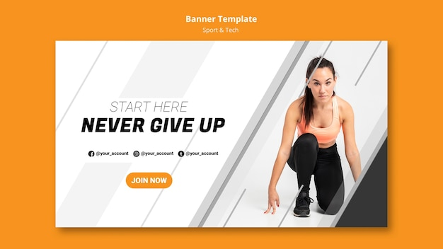 Never give up banner template Free Psd