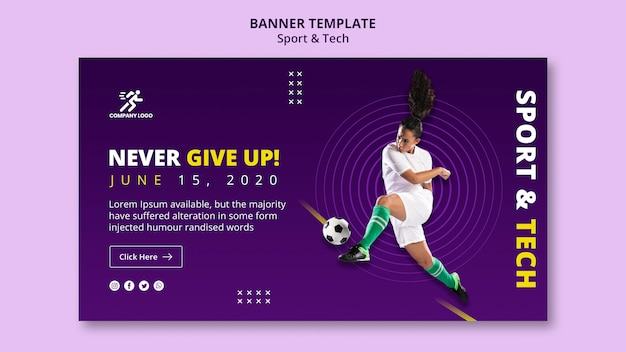 Never give up football girl banner template Free Psd
