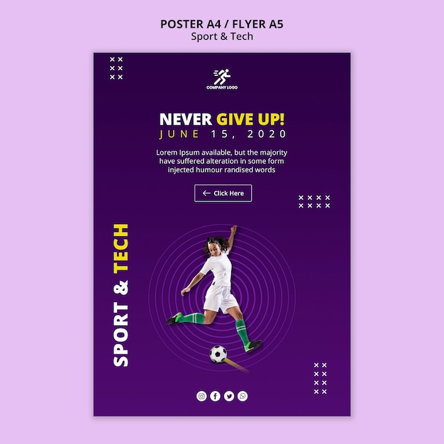 Never give up football girl flyer template Free Psd
