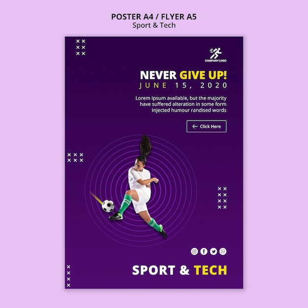 Never give up football girl poster template Free Psd