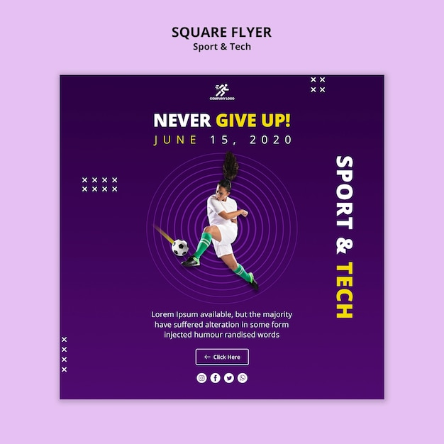 Never give up football girl square flyer template Free Psd