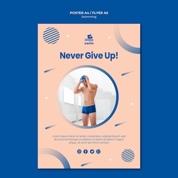 Never give up swimming poster template Free Psd