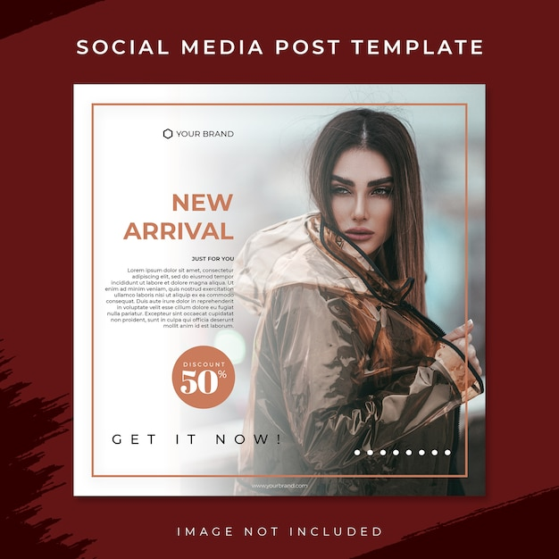 New arrival brown fashion sale social media post template Premium Psd