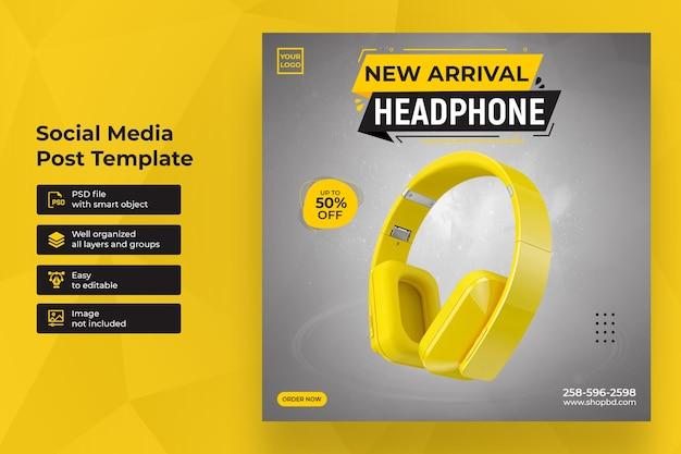 New arrival headphone sale social media post template Premium Psd