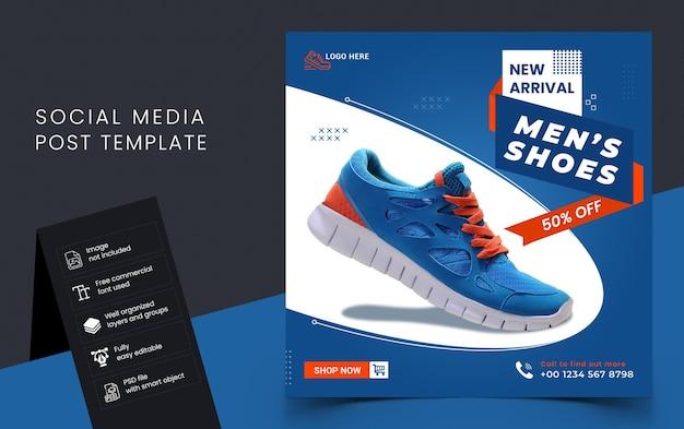 Шаблон сообщения в социальных сетях о продаже новой обуви Premium Psd