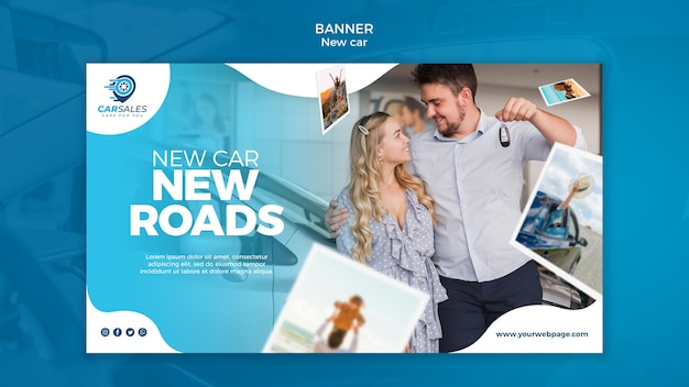 New car concept banner template Free Psd