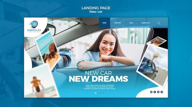 New car concept landing page template Free Psd