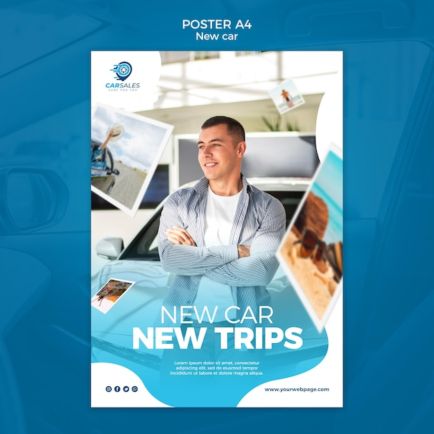 New car concept poster template Free Psd