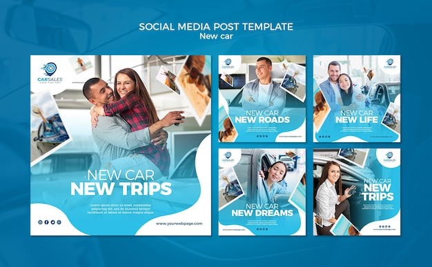 새로운 자동차 개념 소셜 미디어 게시물 템플릿 무료 PSD 파일