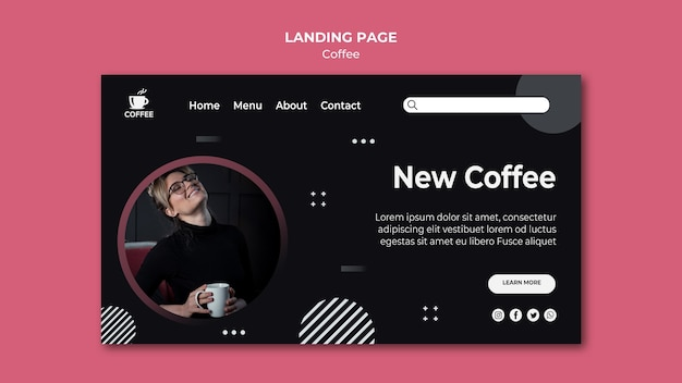 New coffee concept landing page Free Psd