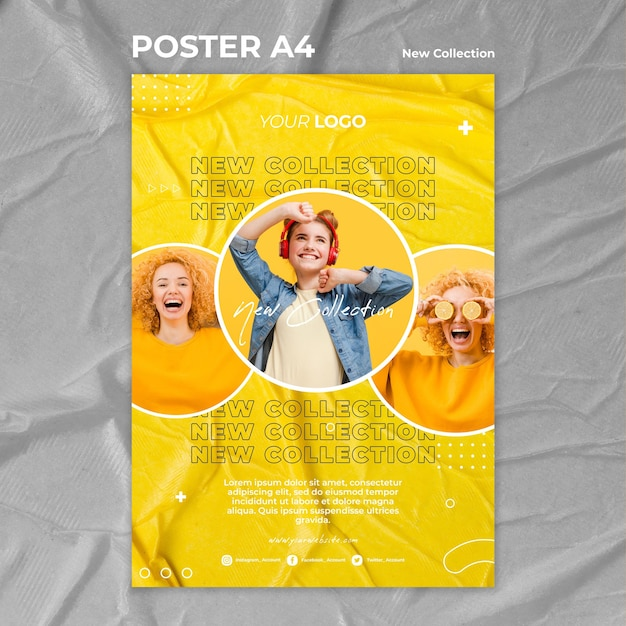 New collection concept poster template Free Psd