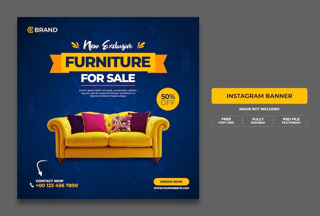 New exclusive furniture sale promotional web banner or social media banner template Premium Psd
