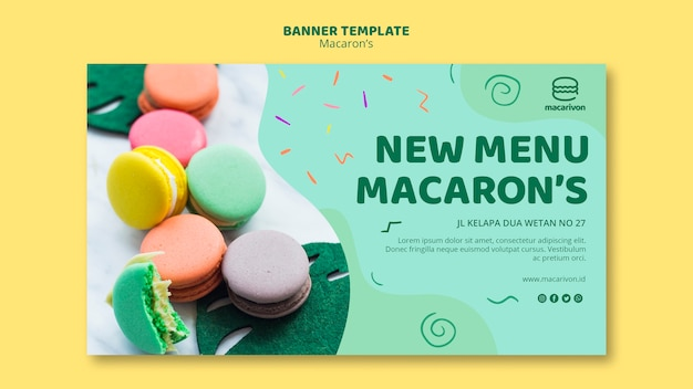 New menu macaron's banner template Free Psd