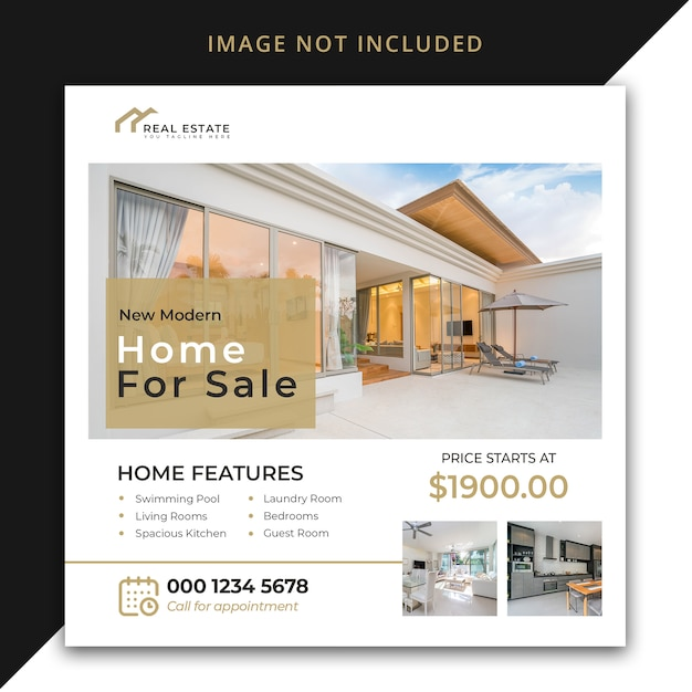 New modern home for sale post template Premium Psd