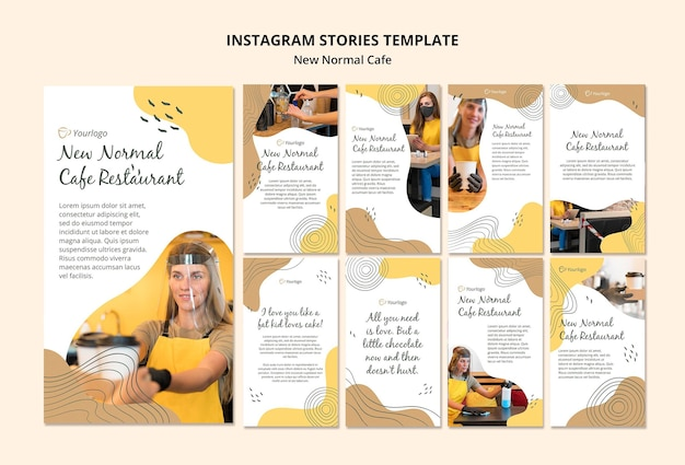 New normal cafe instagram stories template Free Psd