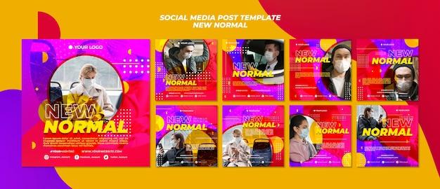 Новый нормальный пост в социальных сетях Бесплатные Psd