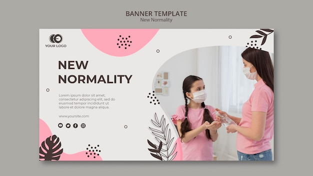 New normality banner template design Free Psd