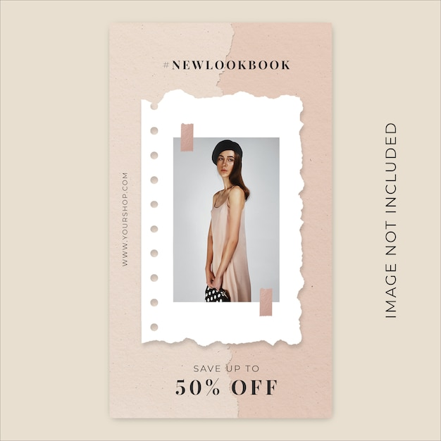 New season fashion collection torn paper instagram stories banner template Premium Psd