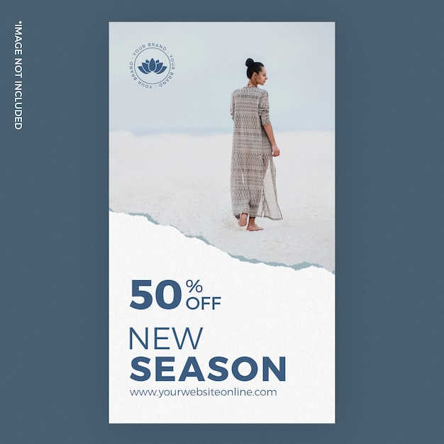 New season torn paper fashion instagram story ads Premium Psd
