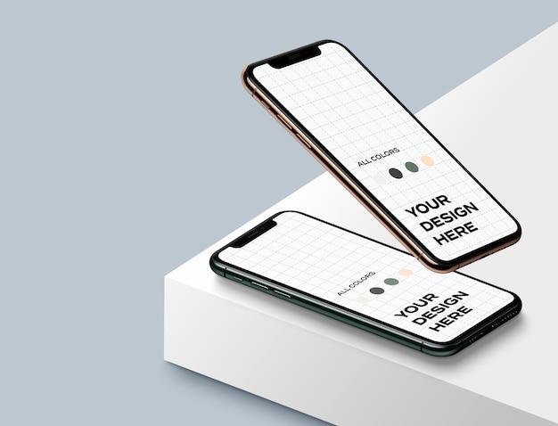 Мокап новых смартфонов вверх Premium Psd