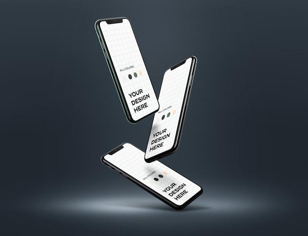 떠 다니는 Iphone 11 Pro 모형 프리미엄 PSD 파일