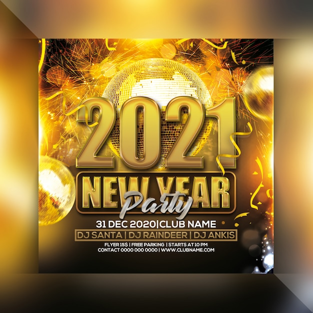 New year 2021 party flyer Premium Psd