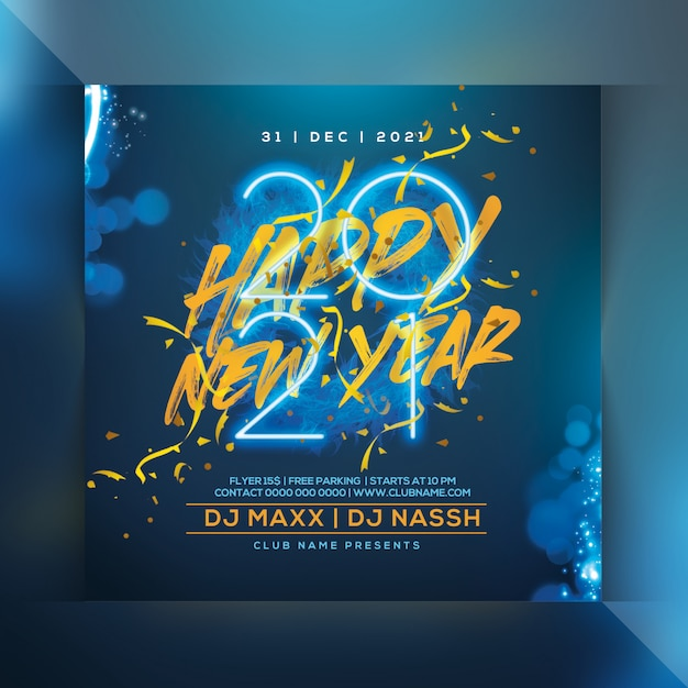 New year celebration party flyer Premium Psd