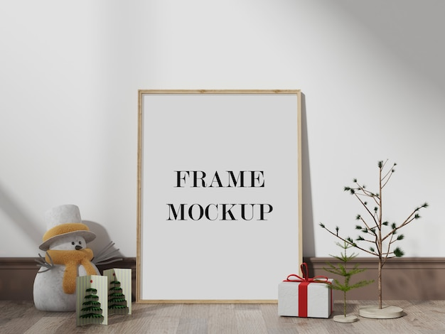 New year and christmas eve frame mockup Premium Psd