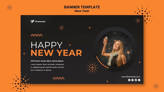 New year concept banner template Free Psd