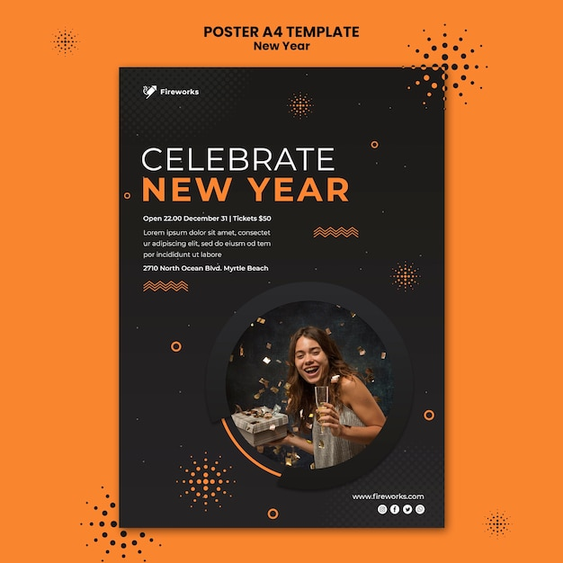 New year concept flyer template Free Psd