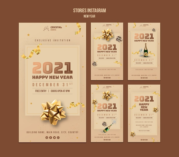 New year concept instagram stories template Premium Psd