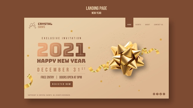 New year concept landing page template Premium Psd