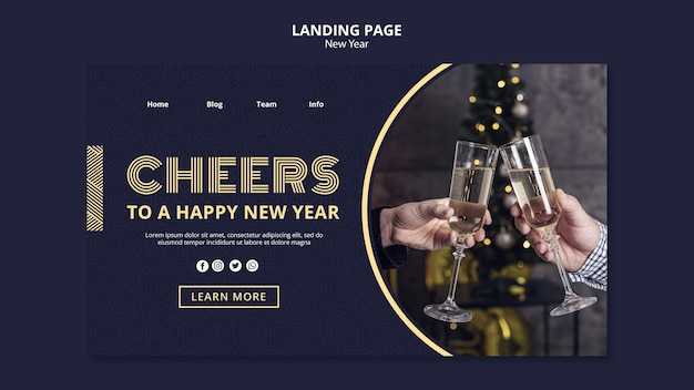 New year concept landing page template Free Psd