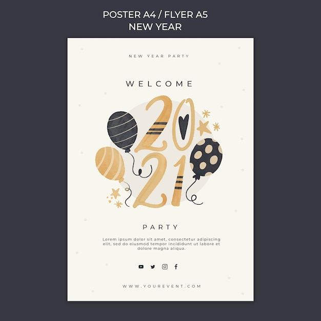 New year concept poster template Free Psd