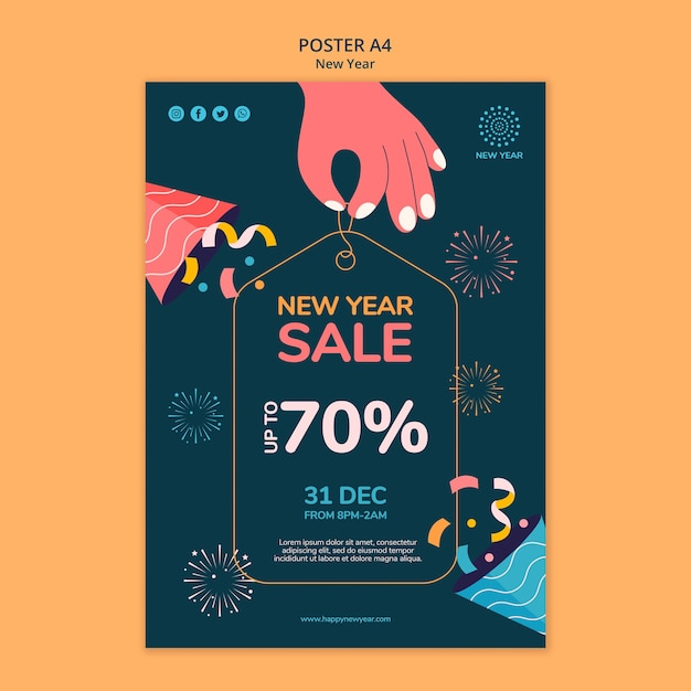 New year concept poster template Premium Psd