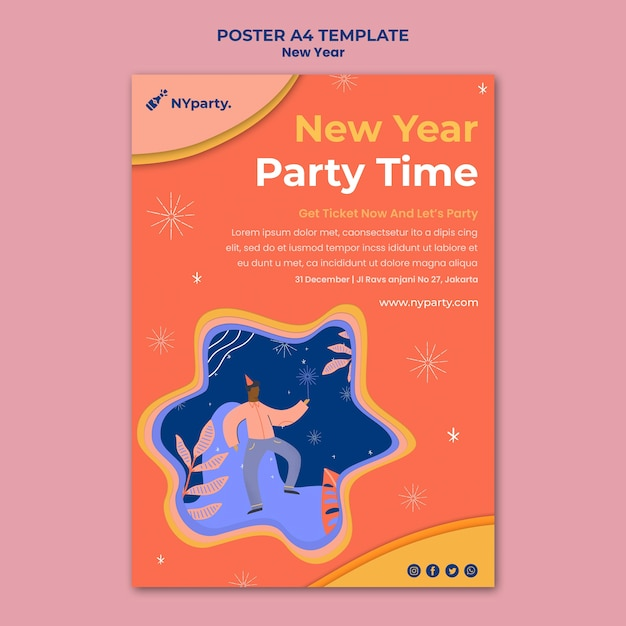 새 해 개념 포스터 템플릿 무료 PSD 파일