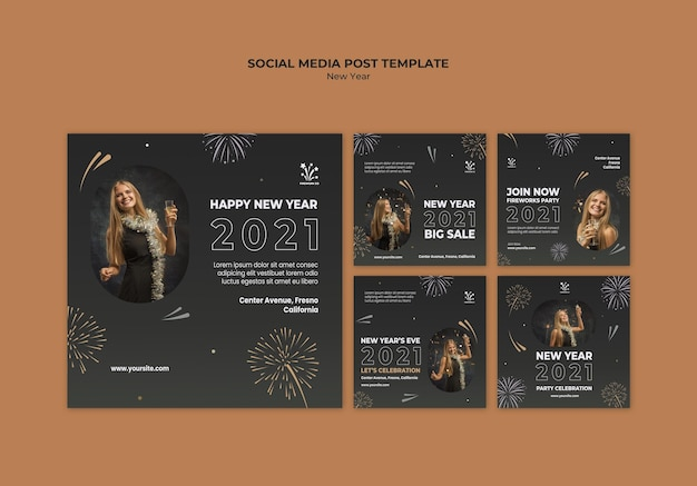 New year concept social media post template Free Psd