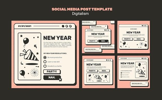 新年のコンセプトソーシャルメディア投稿テンプレート 無料 Psd