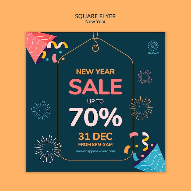 New year concept square flyer template Free Psd