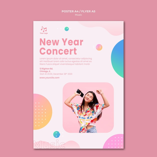 New year concert poster template Free Psd