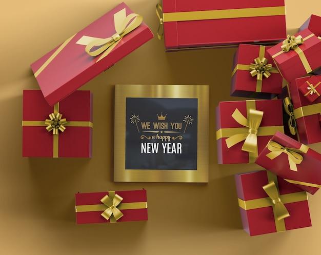 Mock-up cornice di capodanno con regali Psd Gratuite