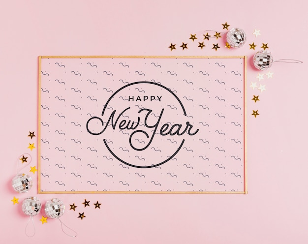 New year lettering with simple frame Free Psd