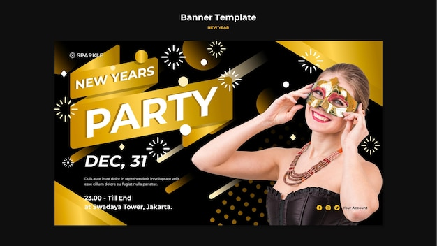 New year party banner template Free Psd