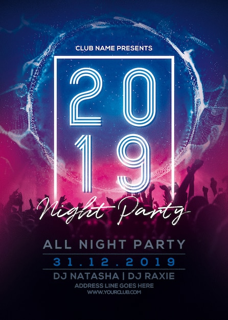 New year party flyer 2019 Premium Psd