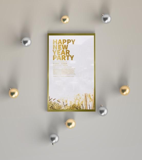 Mock-up festa di capodanno con decorazioni Psd Gratuite